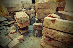 Broken piles of bricks